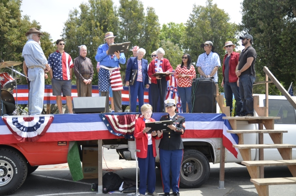 Veterans are honored on stage during a party after the Fourth of July Parade on Friday, July 4, 2014 at Point Dume in Malibu, Calif.